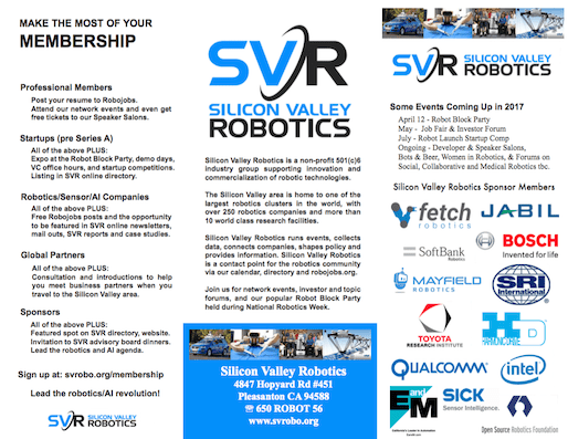 sign up silicon valley robotics as well as networking events company membership includes directory listings job fairs investor forums and demo days companies can be either a local