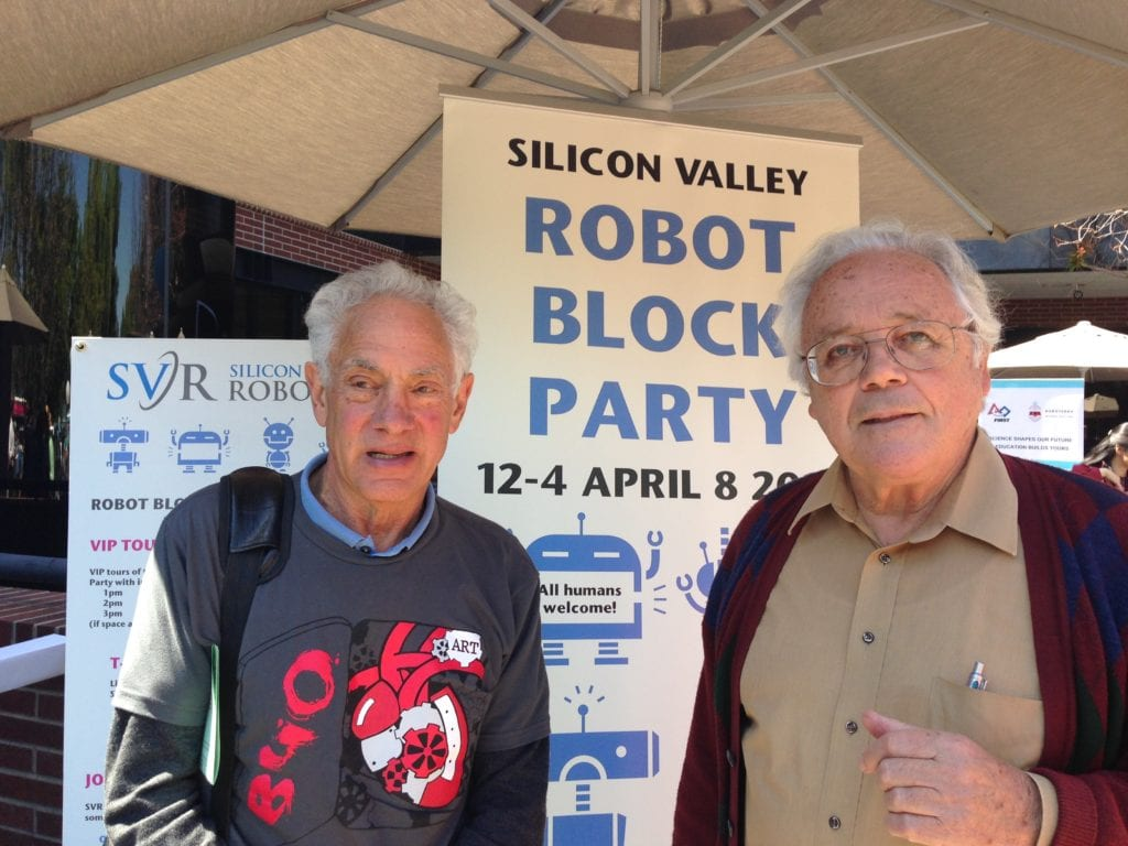 Victor Scheinman and John Meadows at the Silicon Valley Robot Block Party in 2015